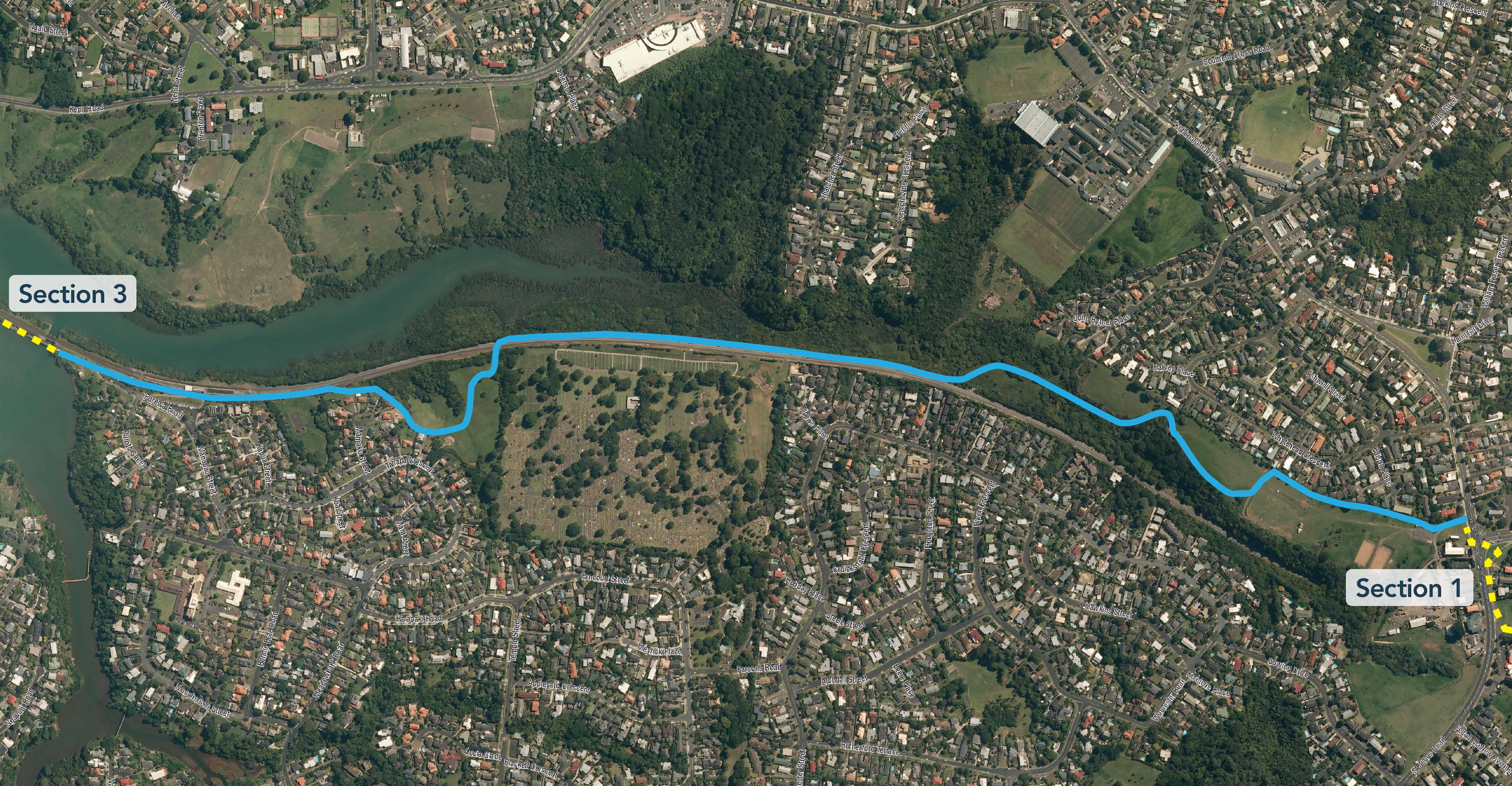 Tamaki Drive to Glen Innes shared walkway Section2 map
