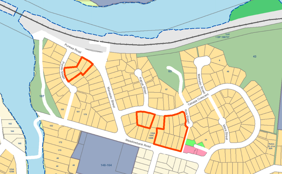 Map showing all three Meadowbank SHA sites. First up for development is the site on Puroto/Purewa streets.