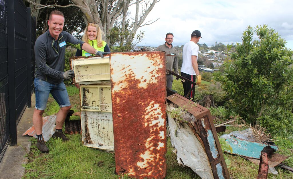 Old fridge at cleanup event