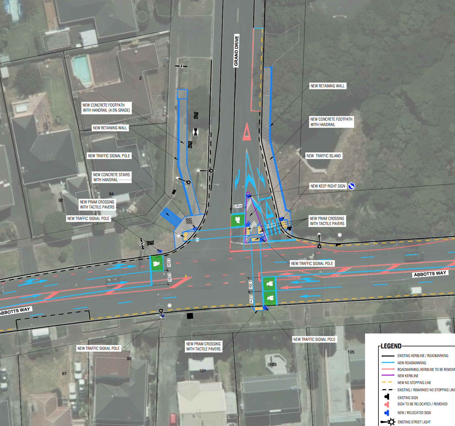 Abbotts Way Grand Drive intersection lights proposed