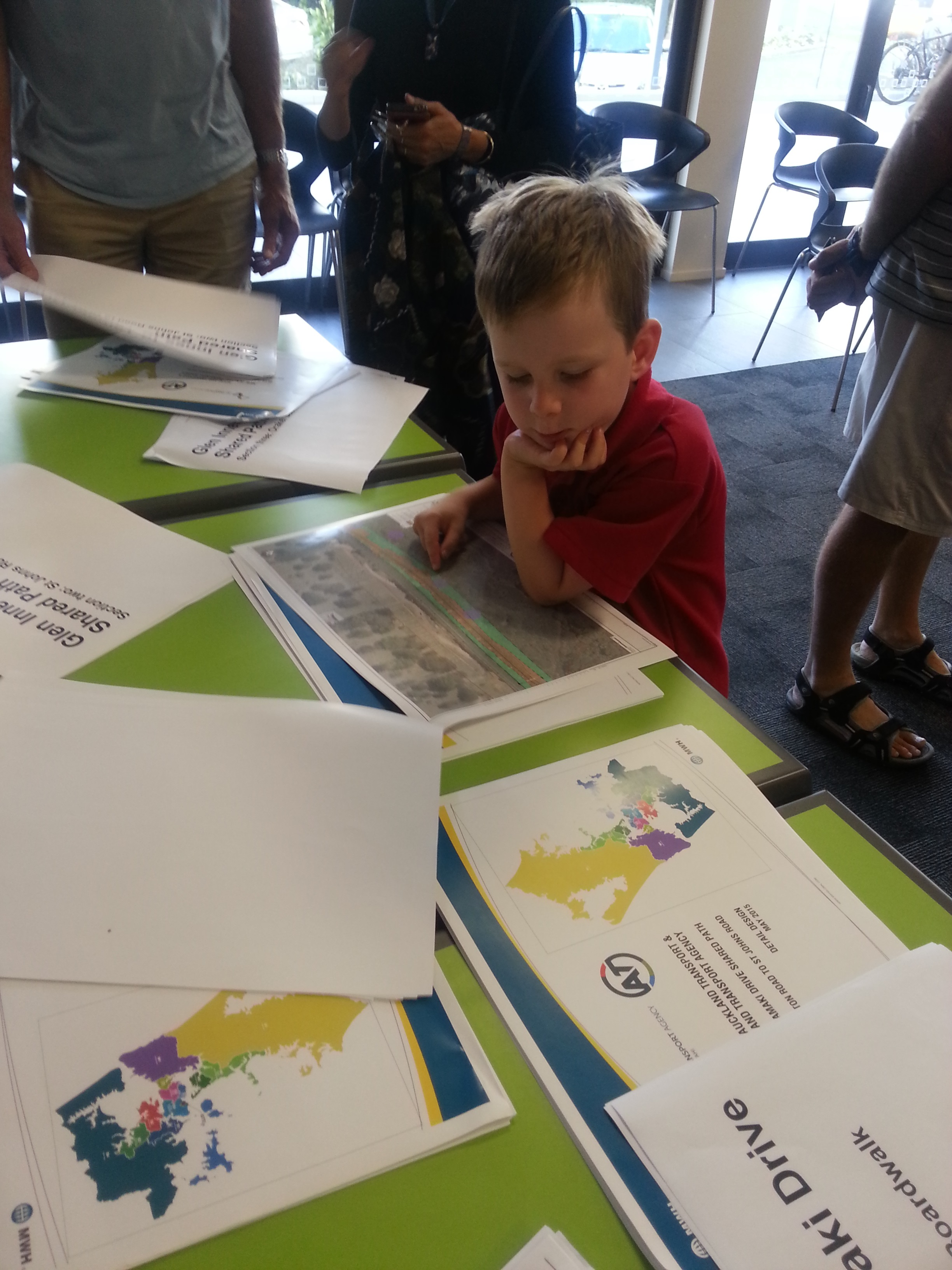 Robbie Jackson, 5, surveying proposed routes at the Eastern Pathway Consultation, April 2016