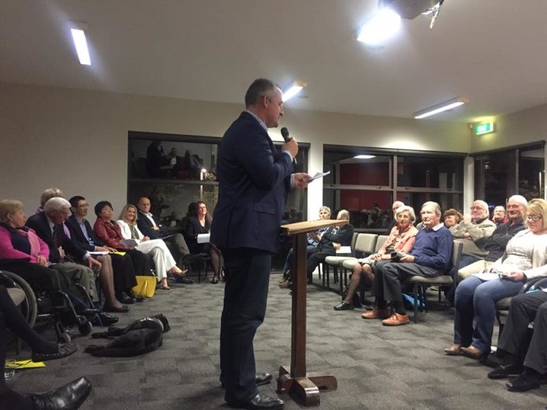 Kit Parkinson addresses the crowd at our 'Meet the Local Candidates' event. Photo: Desley Simpson