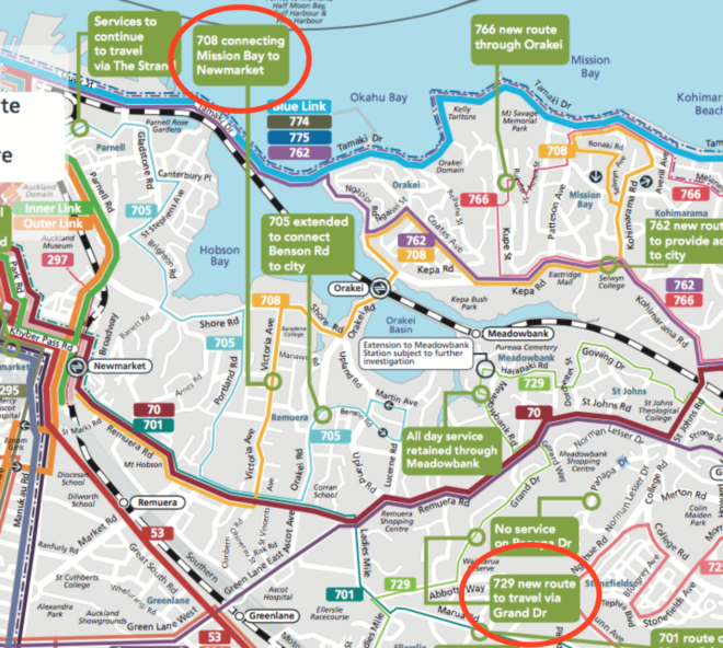 New network route showing 729 and 728 bus routes